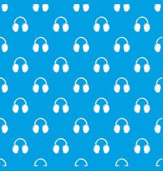 Winter headphones pattern seamless blue vector