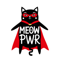 with funny isolated black cat in cape superhero vector image