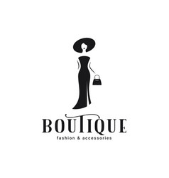 woman in dress and hat logo boutique woman vector image