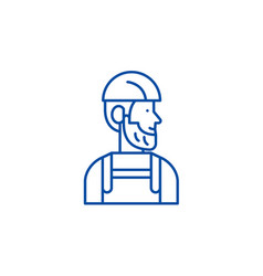 worker line icon concept worker flat vector image