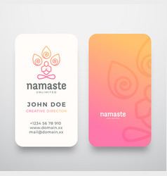 yoga namaste concept logo and business card vector image