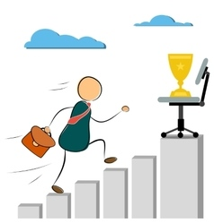 Businessman run to success cup vector image