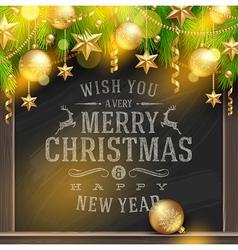 Christmas greetings on a chalkboard and decor vector image
