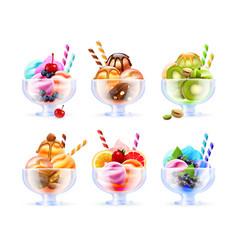sherbet icecream glass set vector image