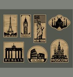 vintage paper landmarks travel labels vector image vector image