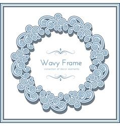 Wavy circle frame vector image