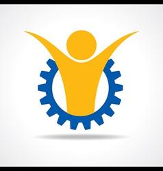 Welcoming person concept man icon in gear wheel vector image vector image