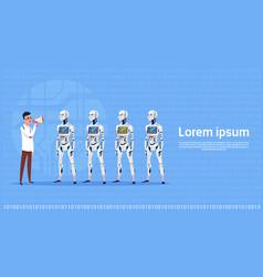 Man leading modern robot group futuristic vector