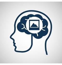 social media concept head and brain media photo vector image
