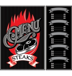 template for menu of steaks grill barbecue vector image vector image