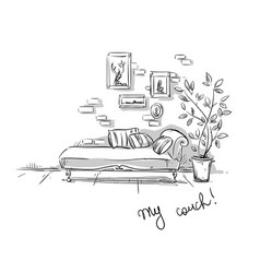 comfortable couch vector image vector image