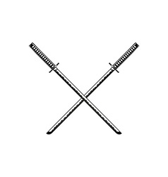 Crossed Samurai Swords isolated on white vector image vector image