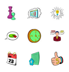 office work icons set cartoon style vector image