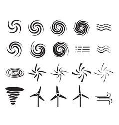 set of wind icons in many style vector image vector image