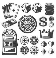 vintage casino elements set vector image