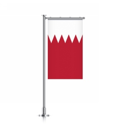 Bahrain flag hanging on a pole vector image vector image