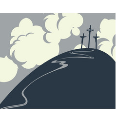 calvary and crosses vector image vector image