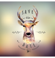Deer watercolor Save the date vector image vector image