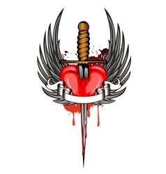 heart and dagger vector image