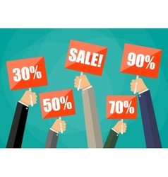 holding red sign boards with the word sale vector image vector image