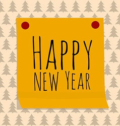 Paper Sticker with Happy Ney Year Greeting vector image vector image