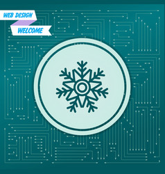 snowflake icon on a green background with arrows vector image vector image