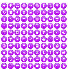 100 mushrooms icons set purple vector