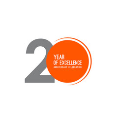 20 year excellence anniversary celebration vector