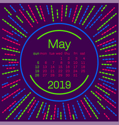 2019 maycalendar page in memphis style poster for vector image