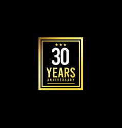30 years anniversary gold square design logo vector
