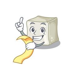 A funny cartoon character sugar cube vector