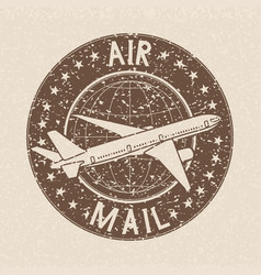 Air mail stamp brown grunge ink postmark on beige vector