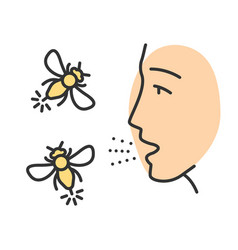 Allergies to insect stings color icon vector