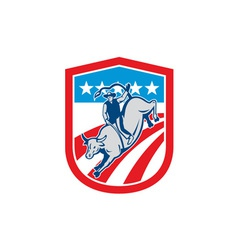 American Rodeo Cowboy Bull Riding Shield Retro vector image
