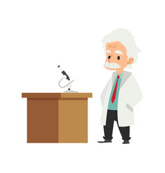 An old man a scientist in a lab coat comes to the vector