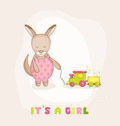 baby kangaroo with a train - baby shower card vector image