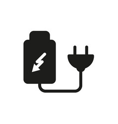 battery charger by electric plug icon vector image