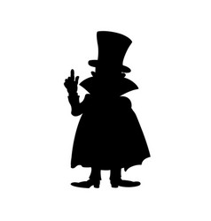Black silhouette of man in cloak with finger up vector