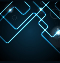 blue glowing neon geometric lines abstract vector image