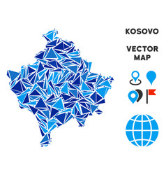 Blue triangle kosovo map vector