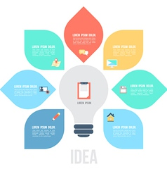Bulb left idea template with flat icons vector image