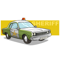 cartoon green sheriff car with golden badge vector image