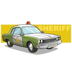 Cartoon green sheriff car with golden badge vector