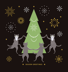 cats and christmas tree vector image