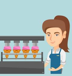 Caucasian worker of factory producing ice-cream vector
