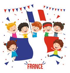 children holding france flag vector image