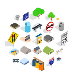city government icons set isometric style vector image