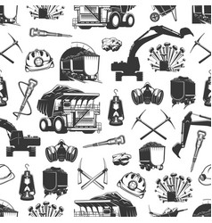 Coal mining miner tools seamless pattern vector