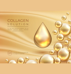 Collagen background cosmetic skin care ad banner vector