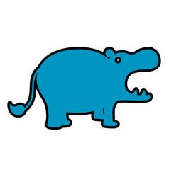 Color hippopotamus safari wild animal vector